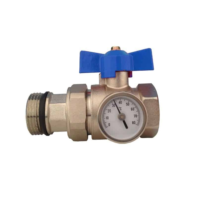Manifold Ball Valve with Temperature Gauge – Blue
