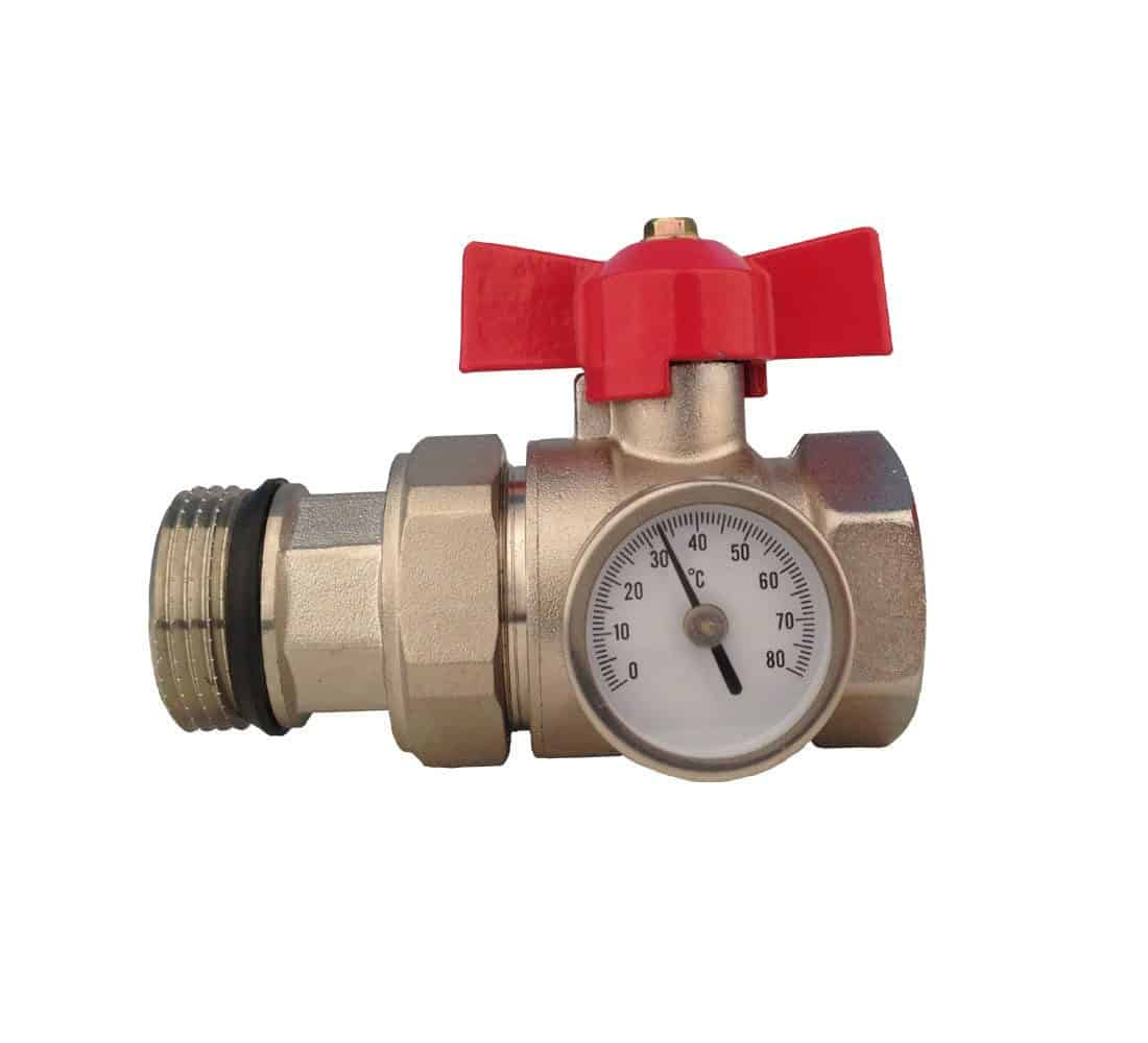 Manifold Ball Valve with Temperature Gauge – Red