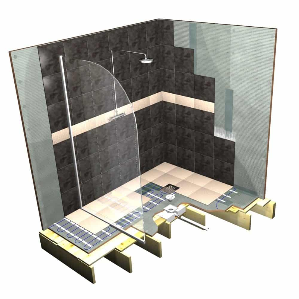 Wet Room System with Offset Drain