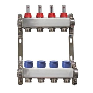 basic 4 port stainless steel manifold the underfloor heating company